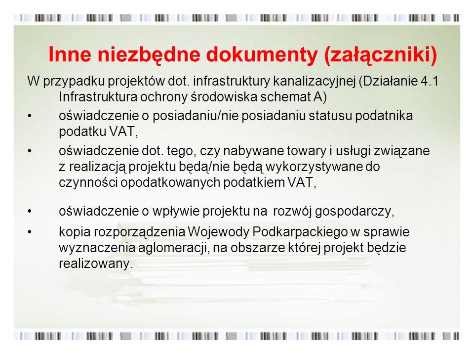 Inne niezbędne dokumenty (załączniki)