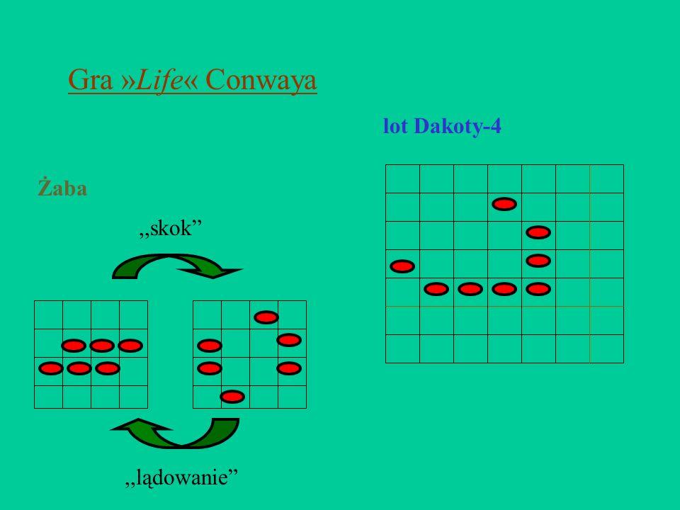 Gra »Life« Conwaya lot Dakoty-4 Żaba ,,skok ,,lądowanie