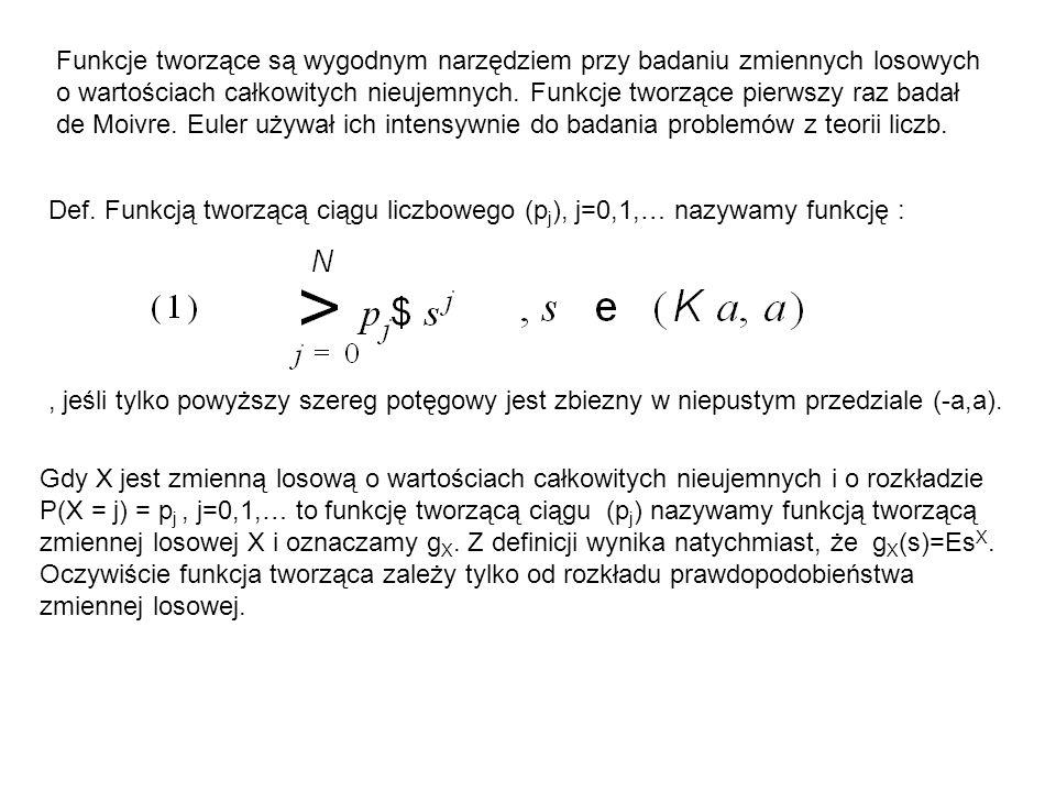 Funkcje tworzące są wygodnym narzędziem przy badaniu zmiennych losowych o wartościach całkowitych nieujemnych. Funkcje tworzące pierwszy raz badał de Moivre. Euler używał ich intensywnie do badania problemów z teorii liczb.