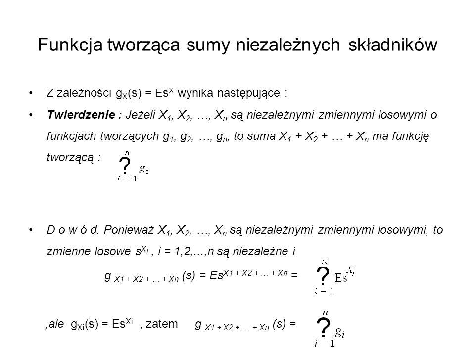 Funkcja tworząca sumy niezależnych składników