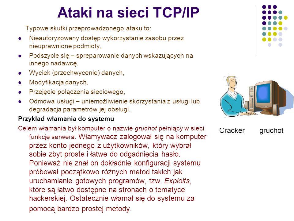 Ataki na sieci TCP/IP Typowe skutki przeprowadzonego ataku to: