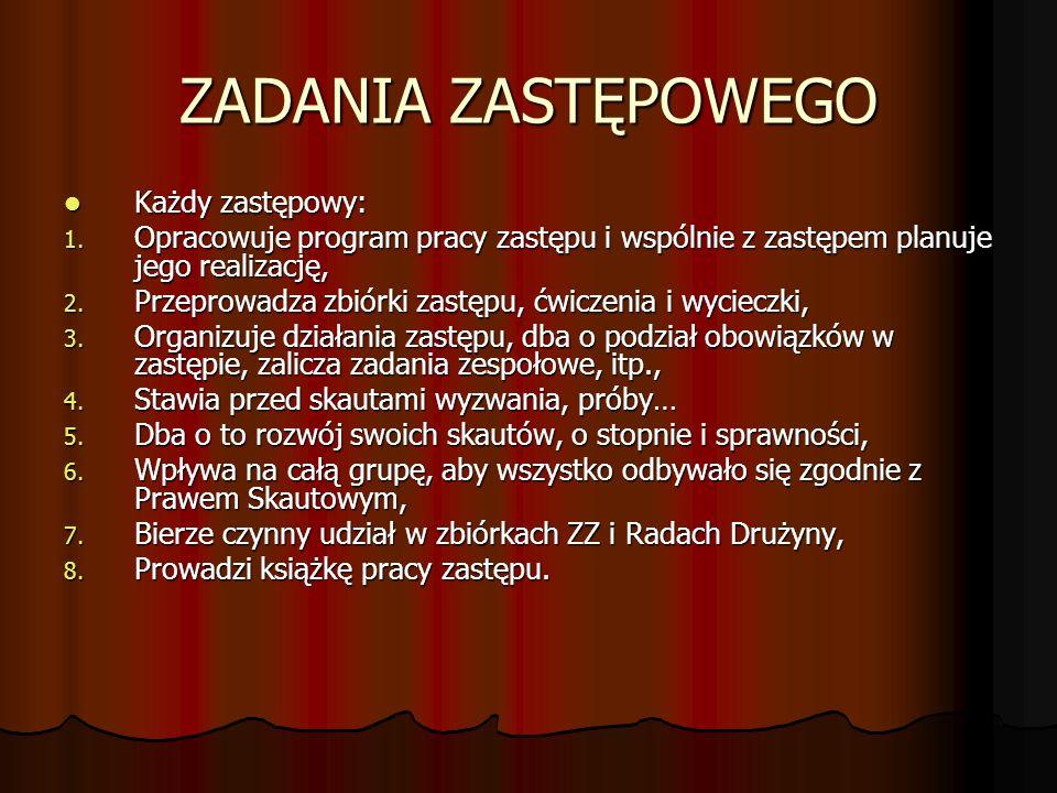 ZADANIA ZASTĘPOWEGO Każdy zastępowy: