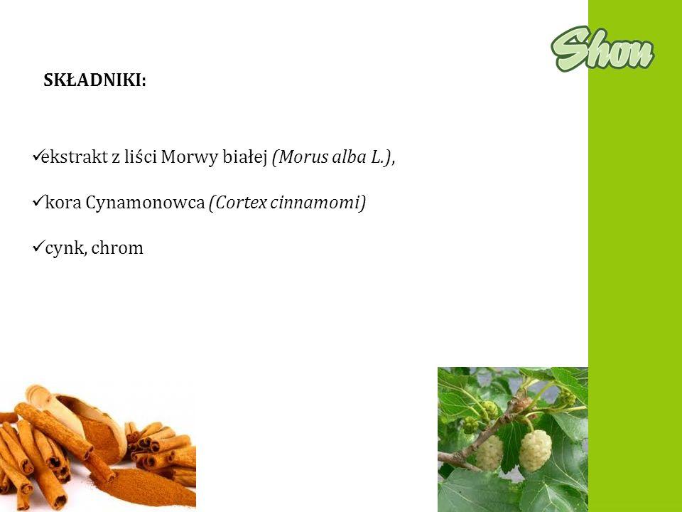 SKŁADNIKI: ekstrakt z liści Morwy białej (Morus alba L.), kora Cynamonowca (Cortex cinnamomi) cynk, chrom.