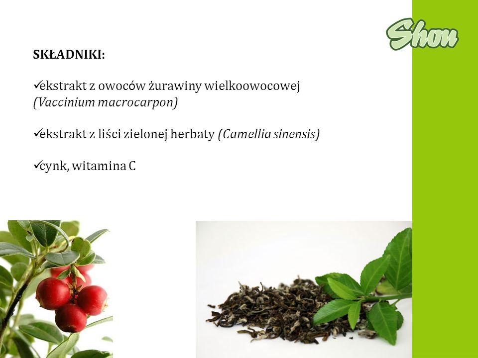 SKŁADNIKI: ekstrakt z owoców żurawiny wielkoowocowej (Vaccinium macrocarpon) ekstrakt z liści zielonej herbaty (Camellia sinensis)