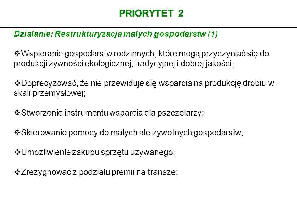 PRIORYTET 2 Działanie: Restrukturyzacja małych gospodarstw (1)