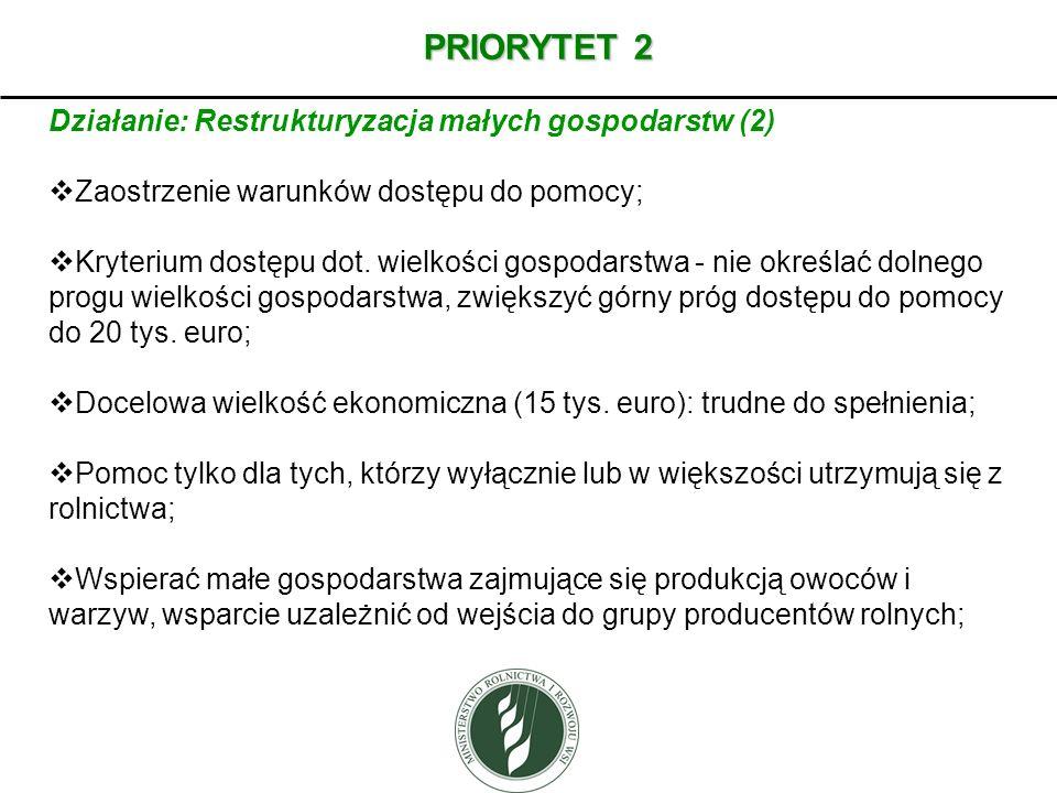 PRIORYTET 2 Działanie: Restrukturyzacja małych gospodarstw (2)