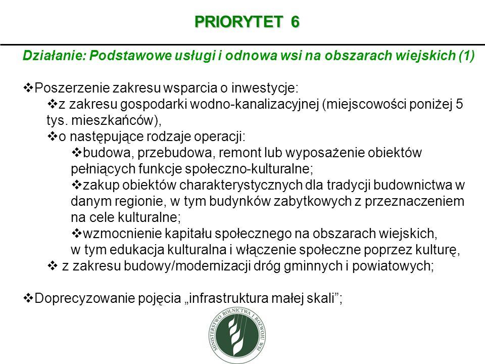 PRIORYTET 6 Działanie: Podstawowe usługi i odnowa wsi na obszarach wiejskich (1) Poszerzenie zakresu wsparcia o inwestycje: