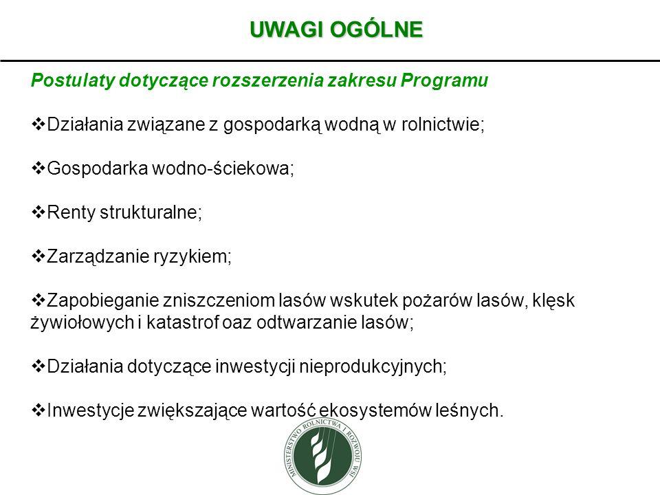 UWAGI OGÓLNE Postulaty dotyczące rozszerzenia zakresu Programu