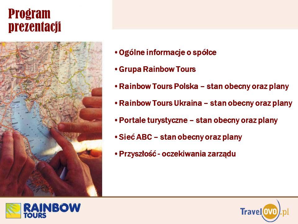 Program prezentacji Ogólne informacje o spółce Grupa Rainbow Tours