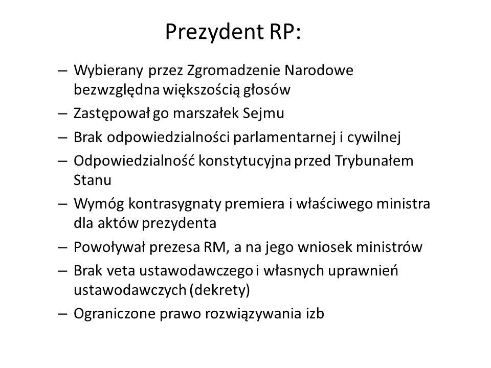 Prezydent RP: Wybierany przez Zgromadzenie Narodowe bezwzględna większością głosów. Zastępował go marszałek Sejmu.