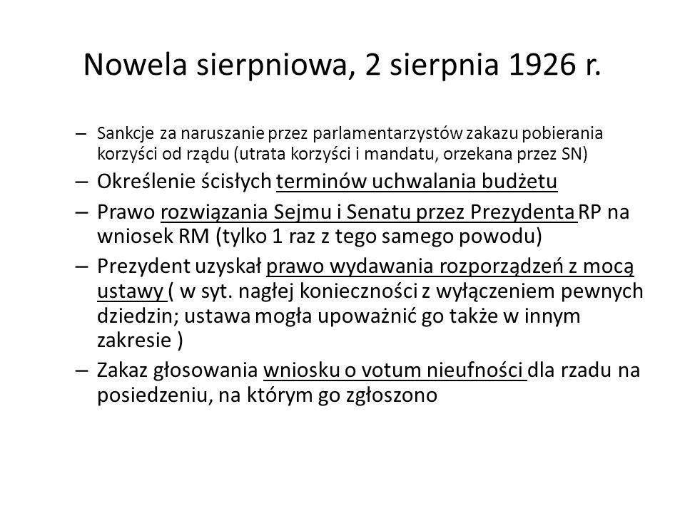 Nowela sierpniowa, 2 sierpnia 1926 r.