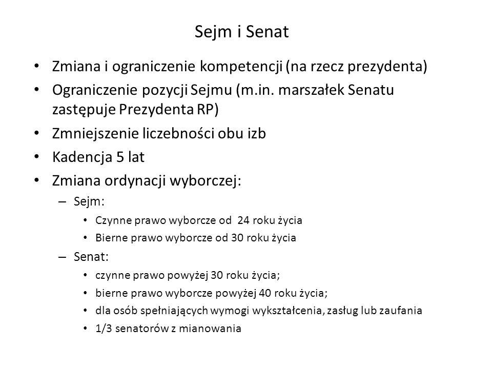 Sejm i Senat Zmiana i ograniczenie kompetencji (na rzecz prezydenta)