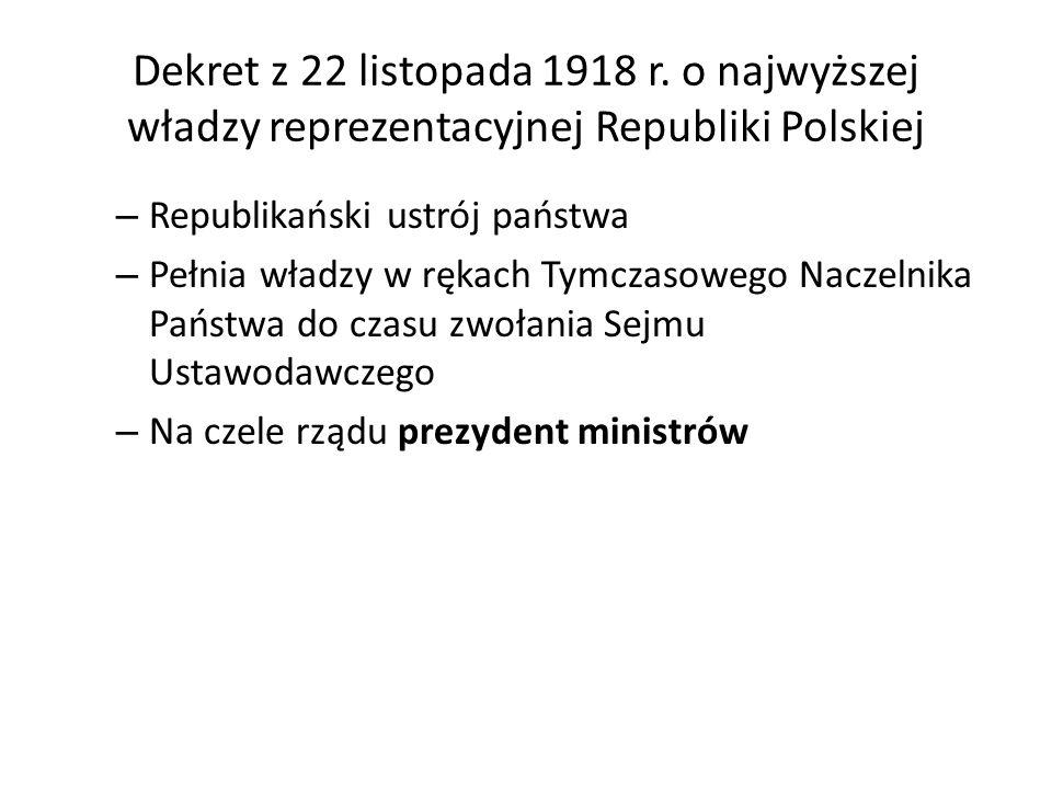 Dekret z 22 listopada 1918 r. o najwyższej władzy reprezentacyjnej Republiki Polskiej