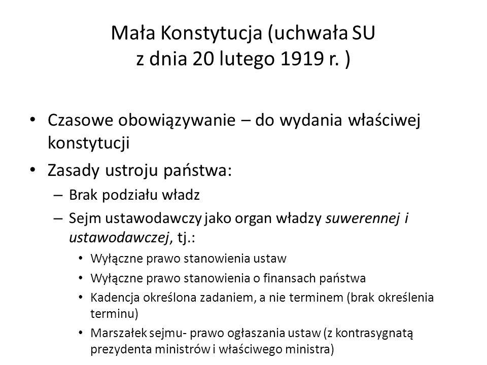 Mała Konstytucja (uchwała SU z dnia 20 lutego 1919 r. )