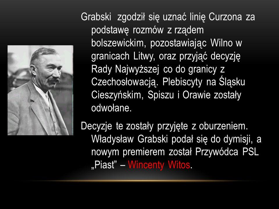 Grabski zgodził się uznać linię Curzona za podstawę rozmów z rządem bolszewickim, pozostawiając Wilno w granicach Litwy, oraz przyjąć decyzję Rady Najwyższej co do granicy z Czechosłowacją.