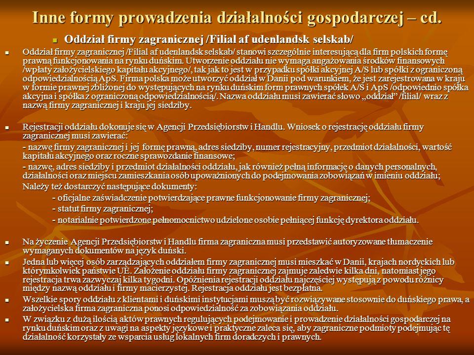 Inne formy prowadzenia działalności gospodarczej – cd.