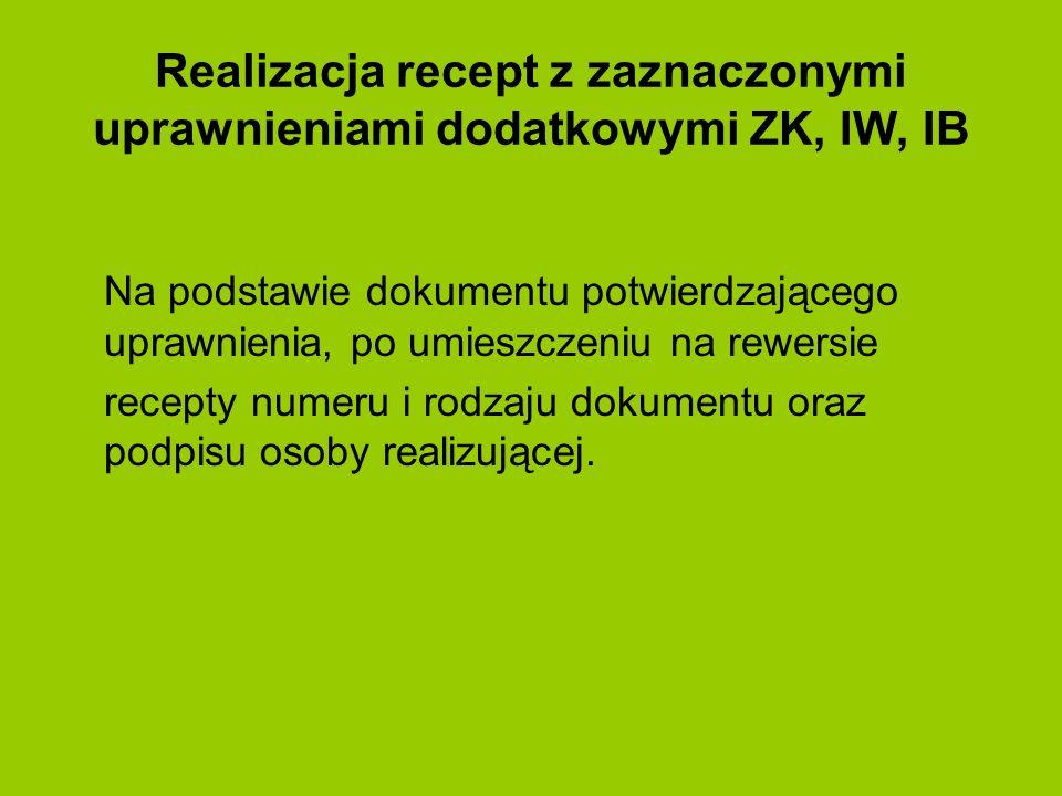 Realizacja recept z zaznaczonymi uprawnieniami dodatkowymi ZK, IW, IB