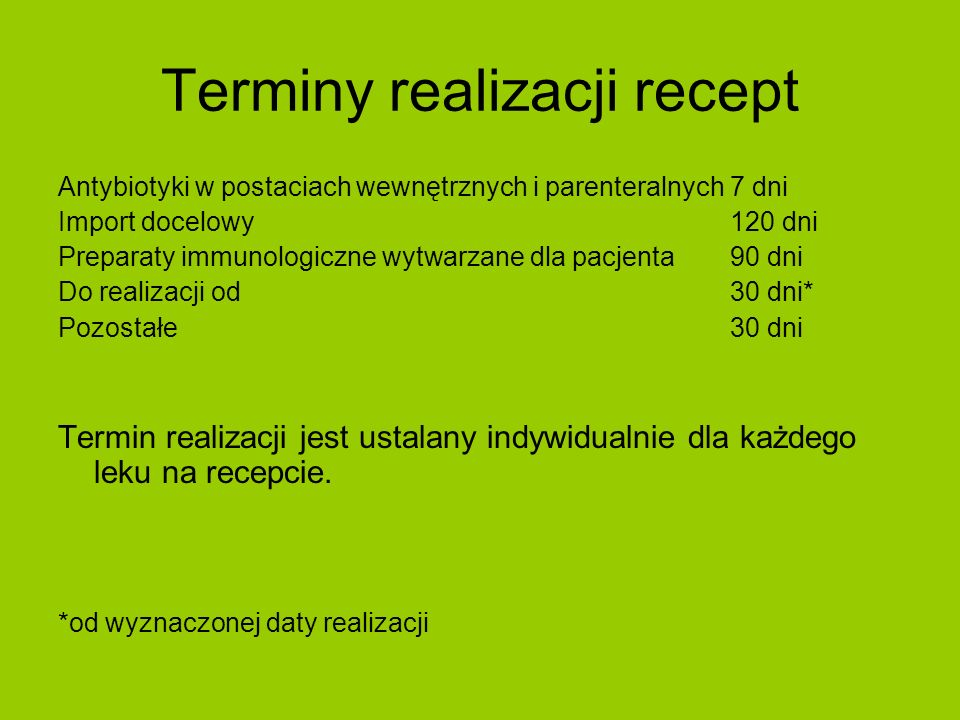 Terminy realizacji recept