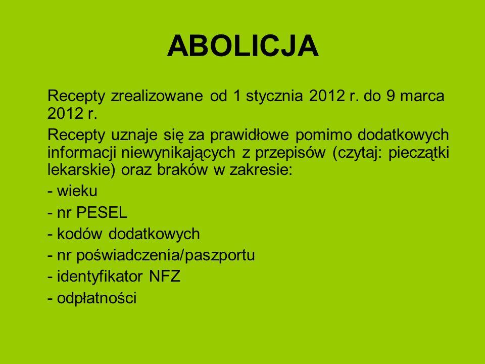 ABOLICJA Recepty zrealizowane od 1 stycznia 2012 r. do 9 marca 2012 r.