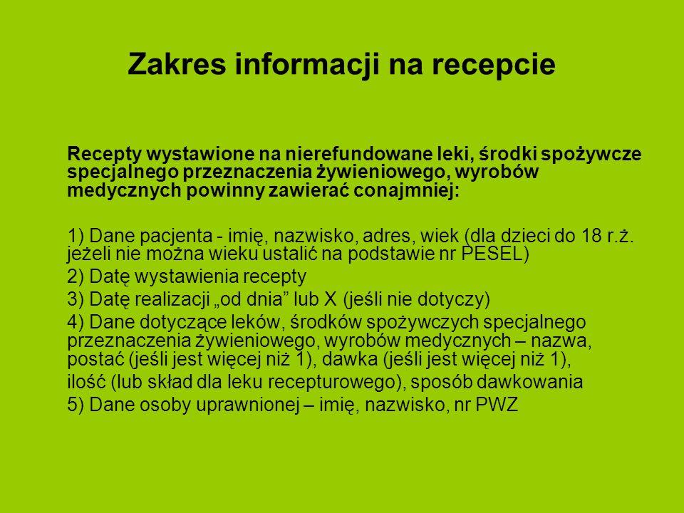 Zakres informacji na recepcie