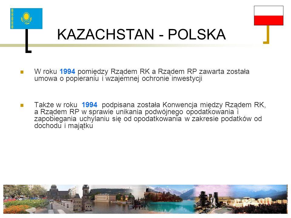 KAZACHSTAN - POLSKA W roku 1994 pomiędzy Rządem RK a Rządem RP zawarta została umowa o popieraniu i wzajemnej ochronie inwestycji.