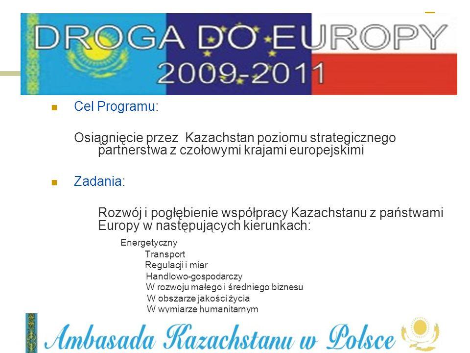 Cel Programu: Osiągnięcie przez Kazachstan poziomu strategicznego partnerstwa z czołowymi krajami europejskimi.