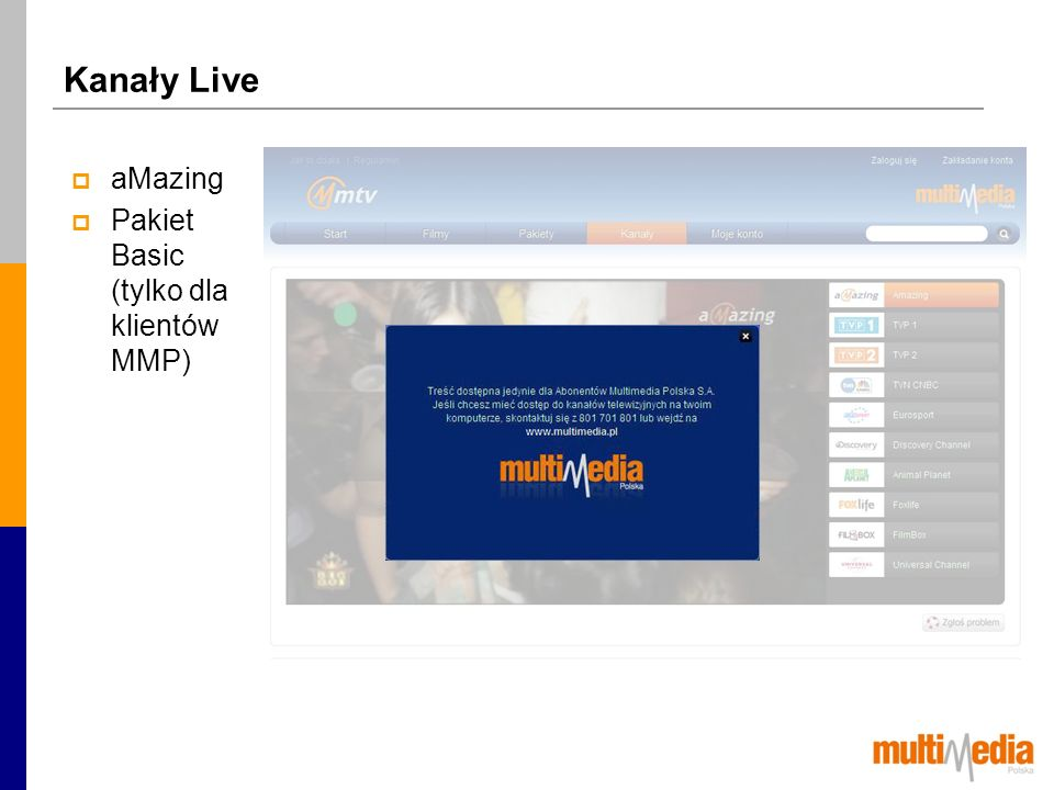 Kanały Live aMazing Pakiet Basic (tylko dla klientów MMP)