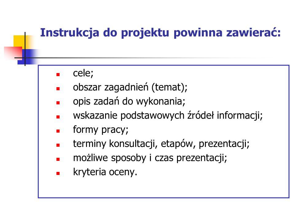 Instrukcja do projektu powinna zawierać: