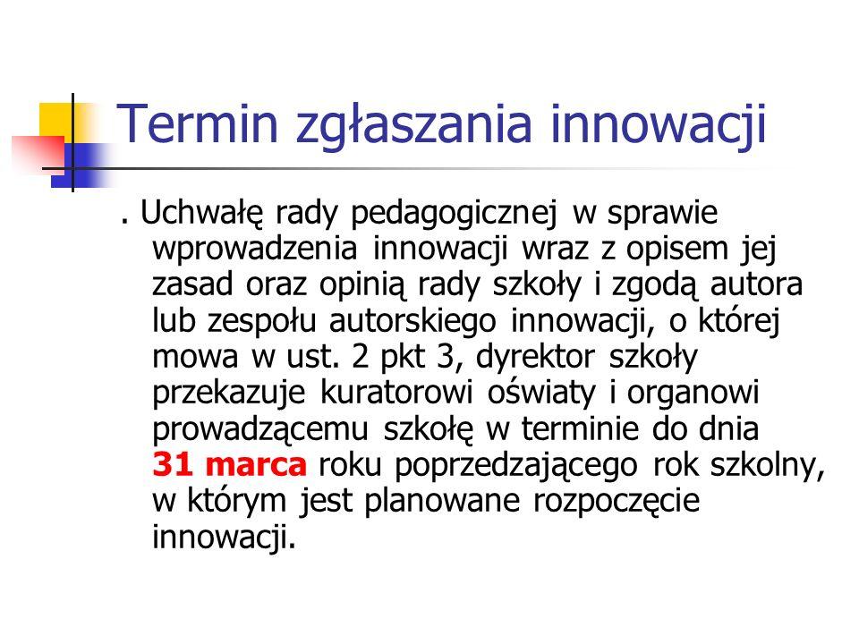 Termin zgłaszania innowacji