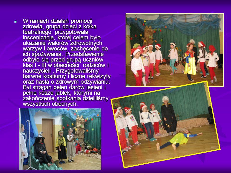 W ramach działań promocji zdrowia, grupa dzieci z kółka teatralnego przygotowała inscenizacje, której celem było ukazanie walorów zdrowotnych warzyw i owoców, zachęcenie do ich spożywania.