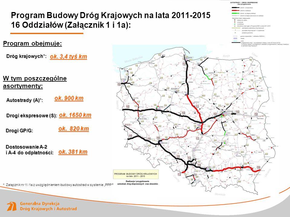 Program Budowy Dróg Krajowych na lata 2011-2015 16 Oddziałów (Załącznik 1 i 1a):