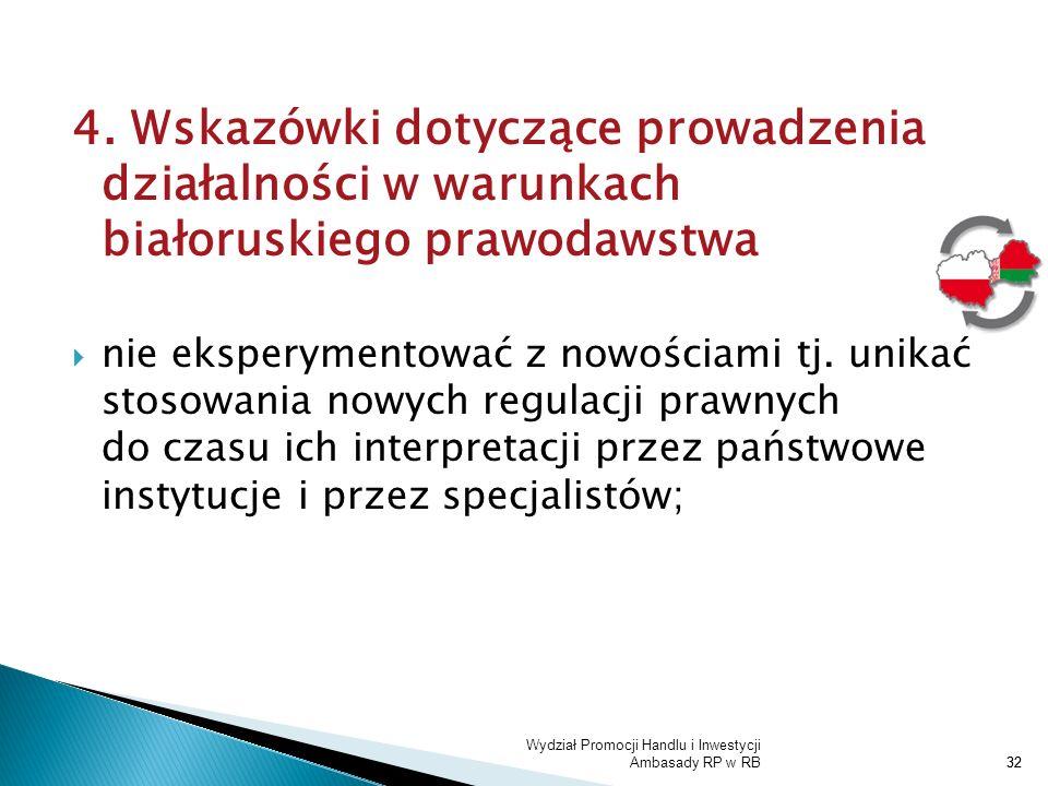 4. Wskazówki dotyczące prowadzenia działalności w warunkach białoruskiego prawodawstwa