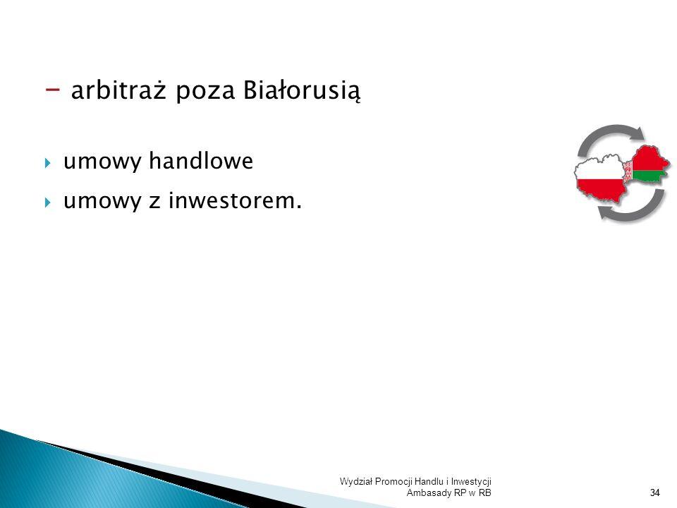 - arbitraż poza Białorusią