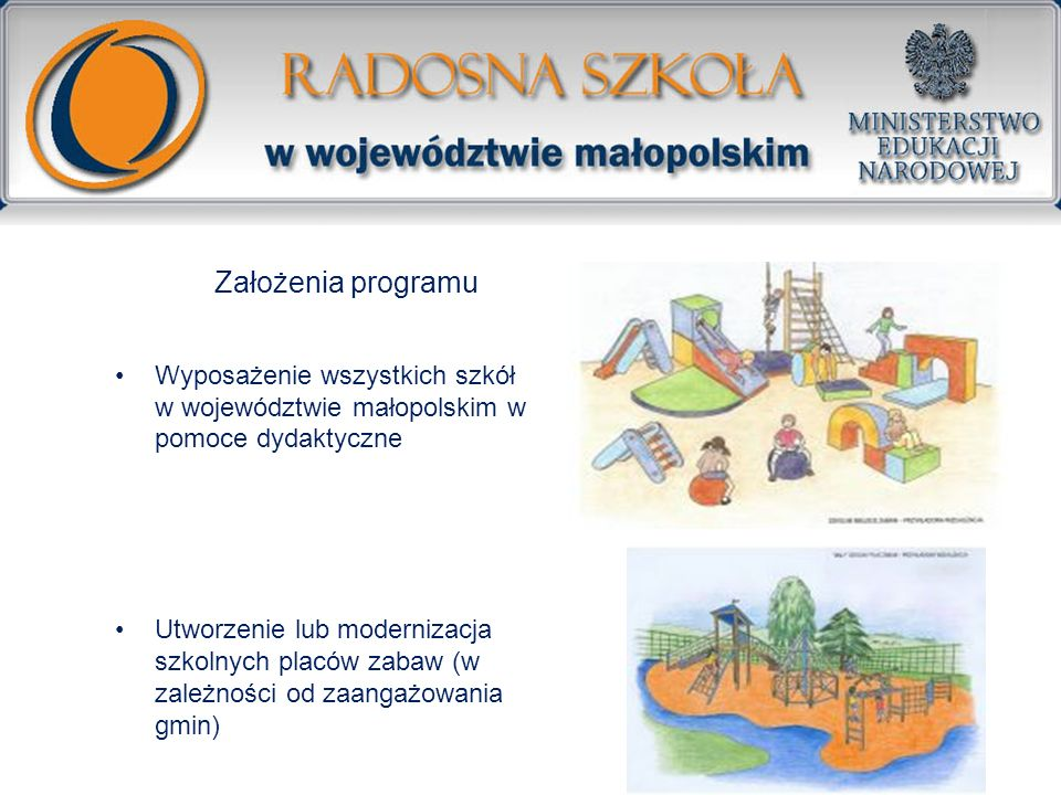 Założenia programu Wyposażenie wszystkich szkół w województwie małopolskim w pomoce dydaktyczne.
