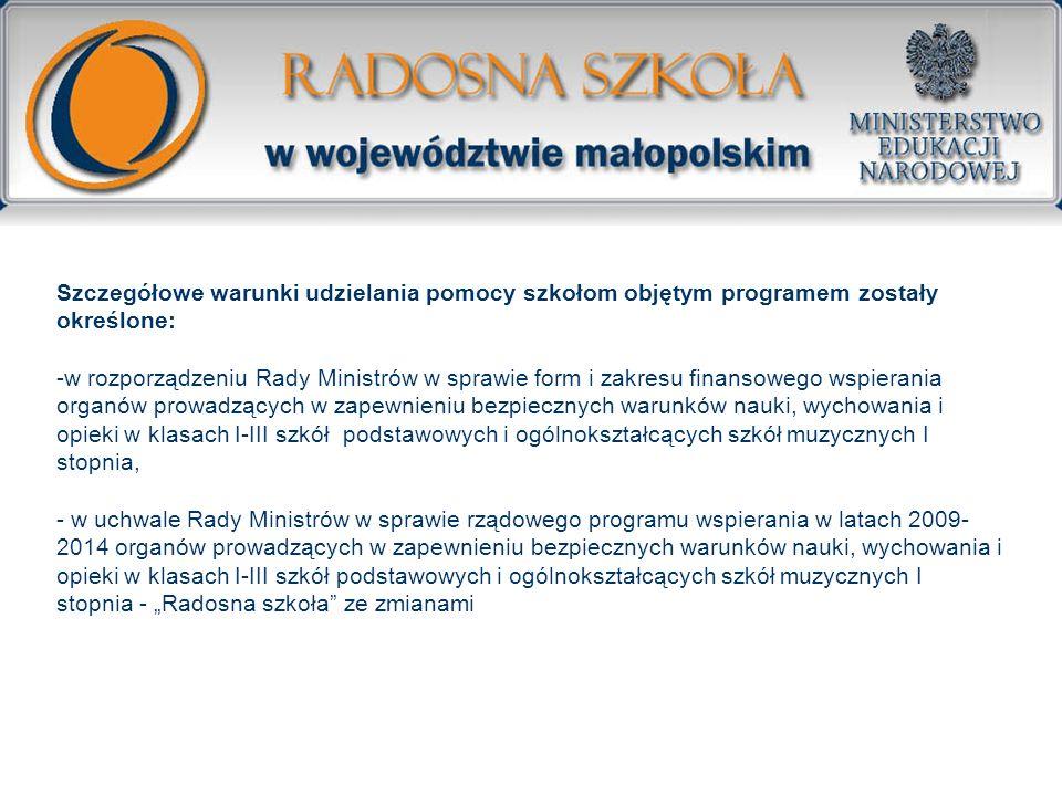 Szczegółowe warunki udzielania pomocy szkołom objętym programem zostały określone: