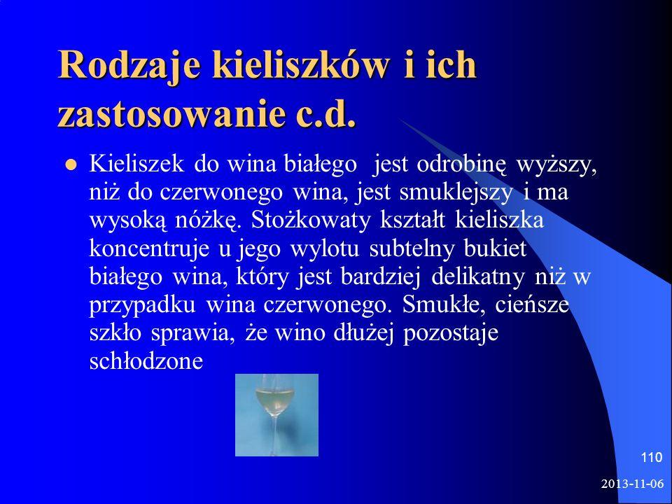 Rodzaje kieliszków i ich zastosowanie c.d.