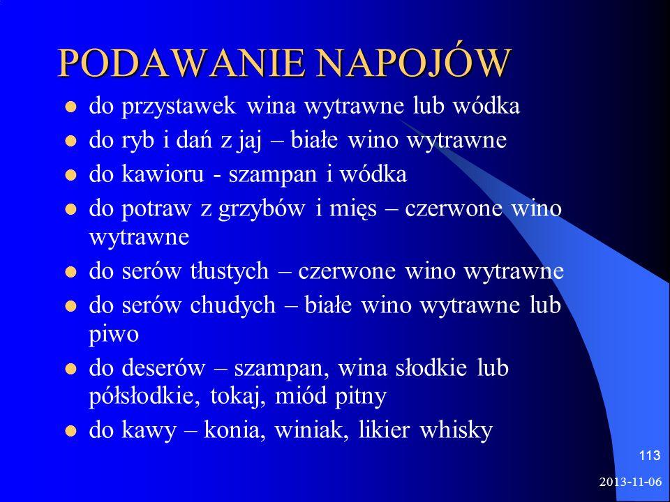 PODAWANIE NAPOJÓW do przystawek wina wytrawne lub wódka