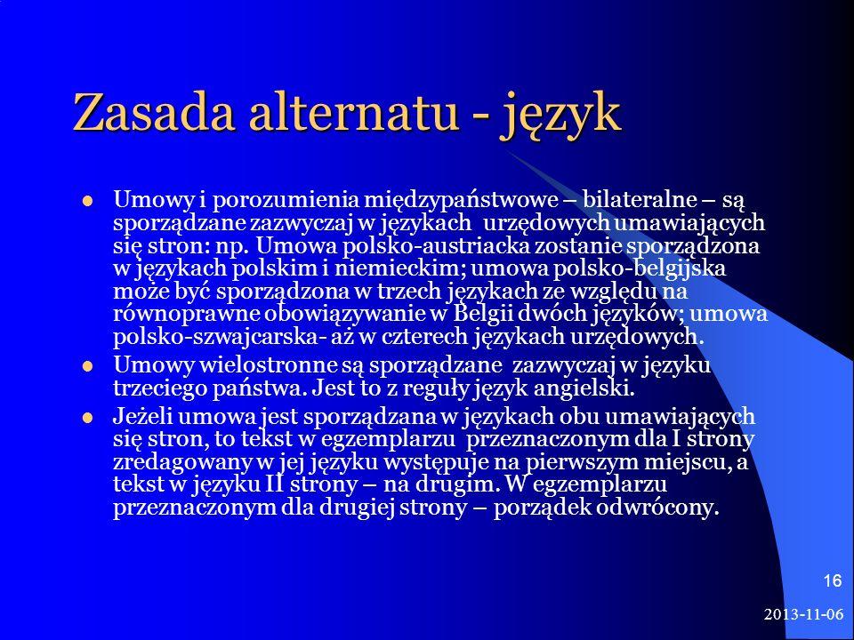 Zasada alternatu - język