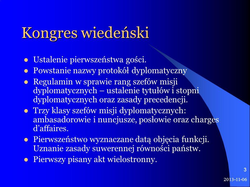 Kongres wiedeński Ustalenie pierwszeństwa gości.