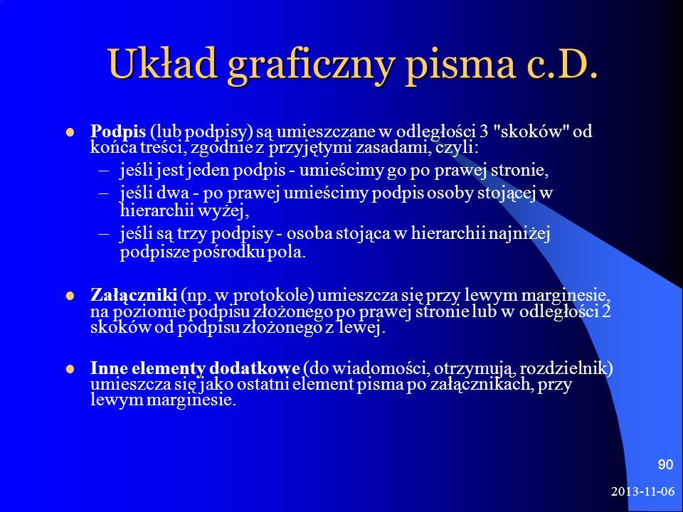 Układ graficzny pisma c.D.