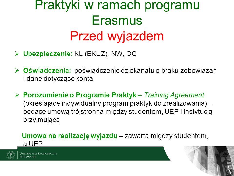 Praktyki w ramach programu Erasmus Przed wyjazdem