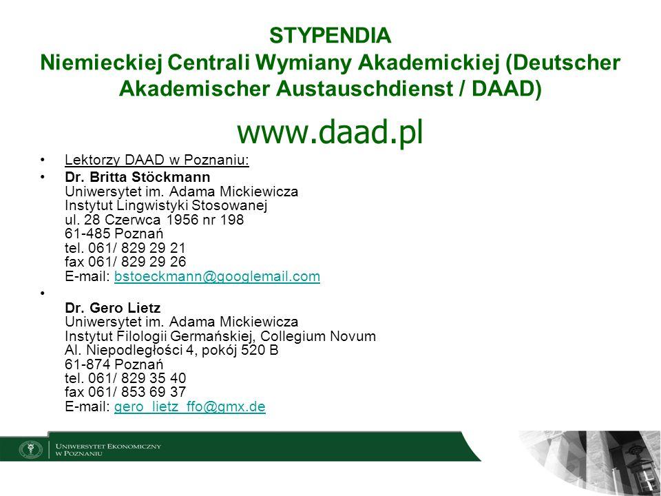 STYPENDIA Niemieckiej Centrali Wymiany Akademickiej (Deutscher Akademischer Austauschdienst / DAAD)