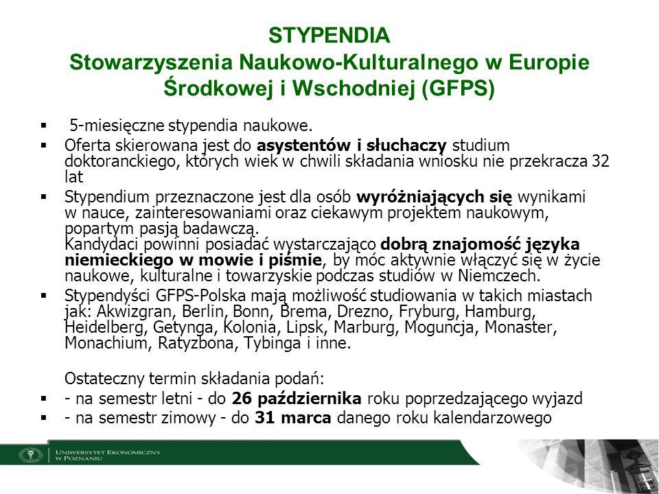 STYPENDIA Stowarzyszenia Naukowo-Kulturalnego w Europie Środkowej i Wschodniej (GFPS)