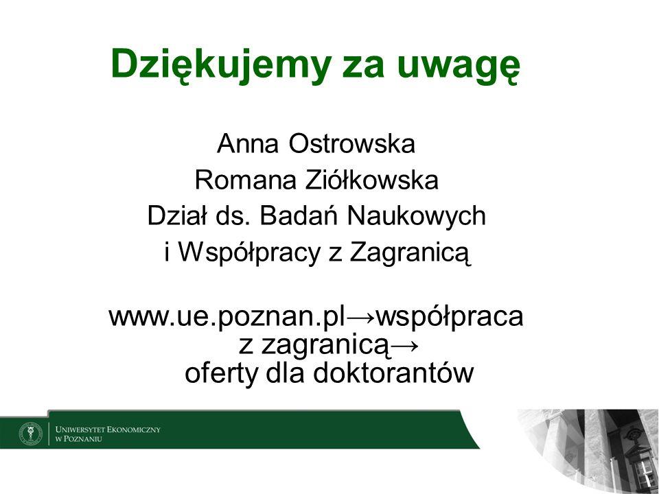 Dziękujemy za uwagę Anna Ostrowska. Romana Ziółkowska. Dział ds. Badań Naukowych. i Współpracy z Zagranicą.