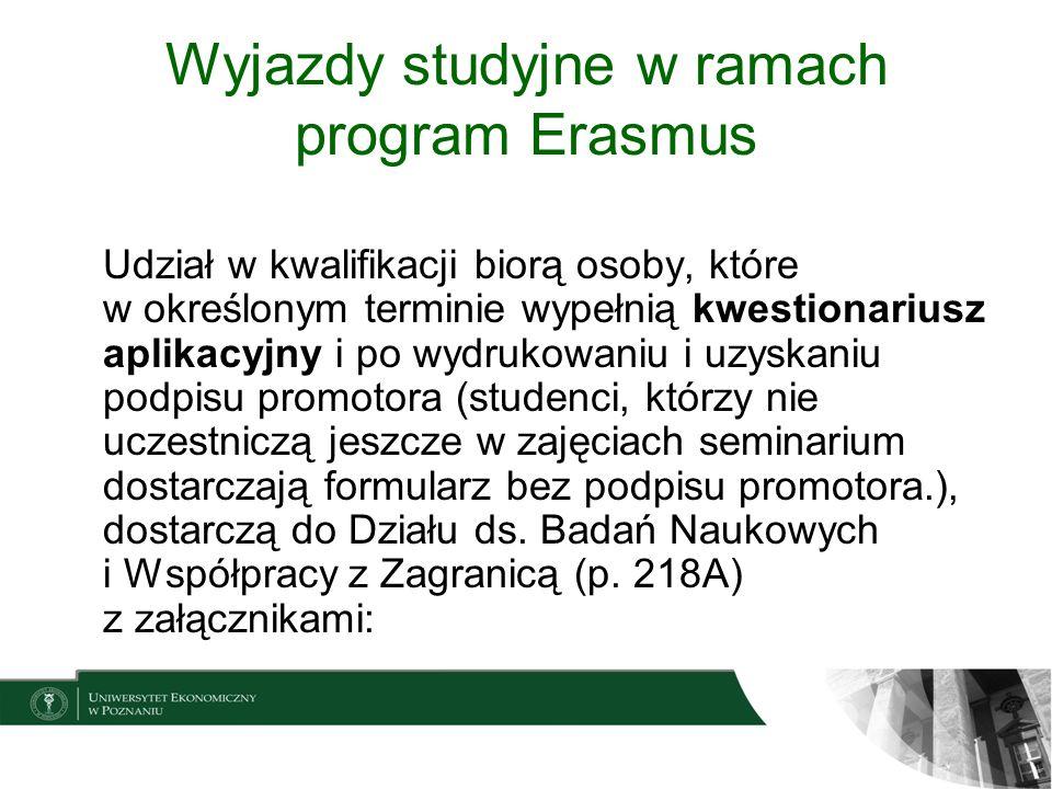 Wyjazdy studyjne w ramach program Erasmus