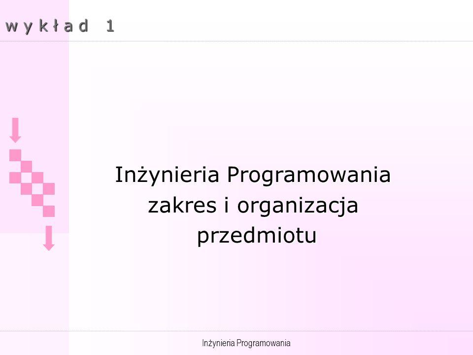 Inżynieria Programowania zakres i organizacja przedmiotu