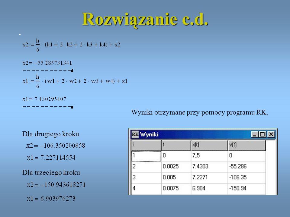 Rozwiązanie c.d. Wyniki otrzymane przy pomocy programu RK.