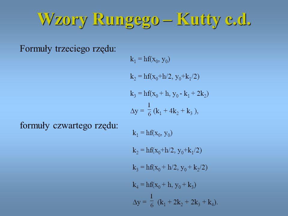 Wzory Rungego – Kutty c.d.
