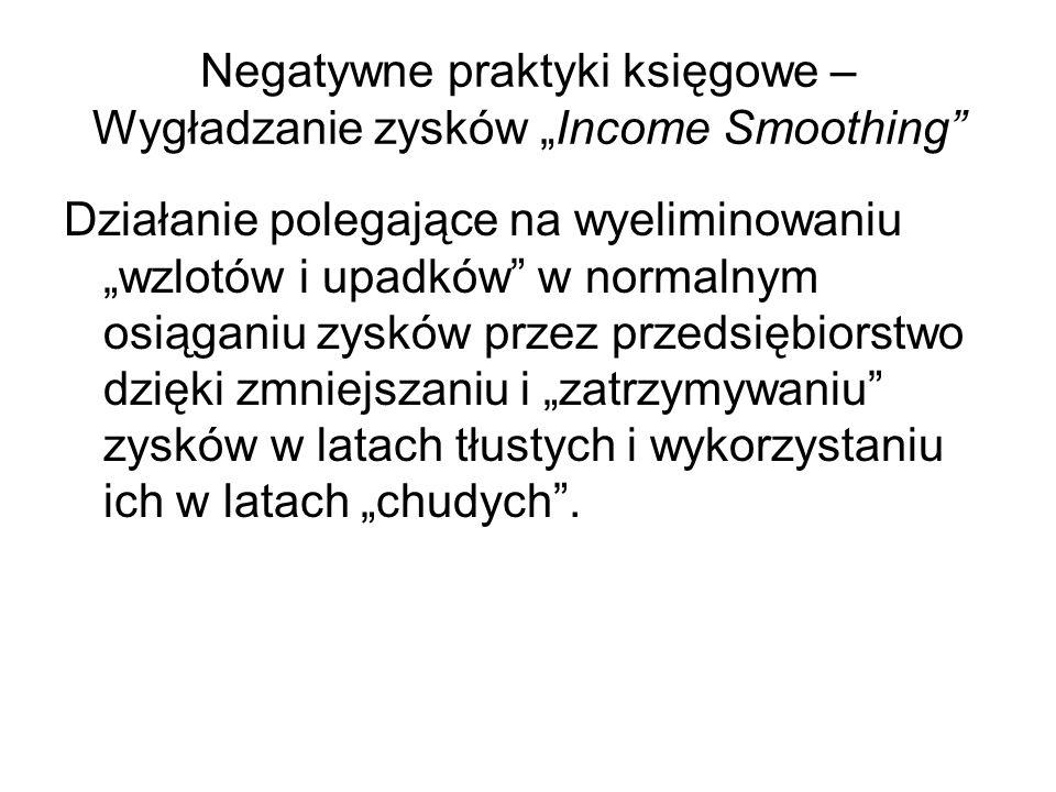"""Negatywne praktyki księgowe – Wygładzanie zysków """"Income Smoothing"""