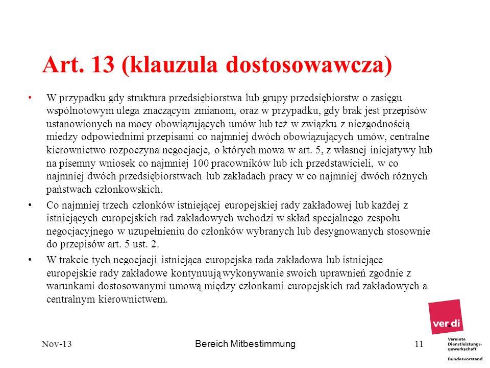 Art. 13 (klauzula dostosowawcza)
